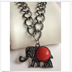 """Silver Elephant Necklace Red Coral 21-23"""" PlusSize"""